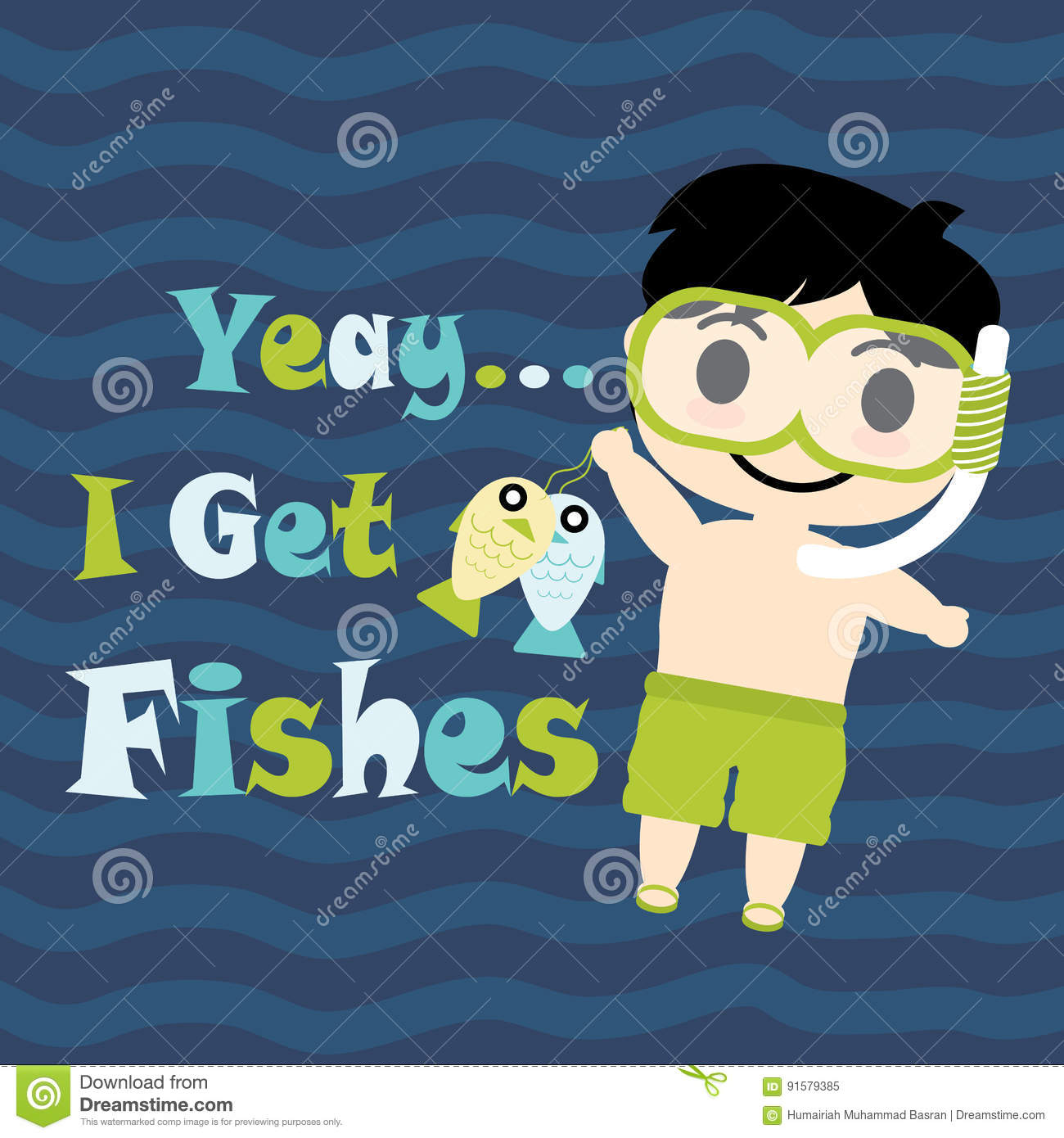 Cute Boy With Diving Glasses Cartoon Summer Postcard Wallpaper