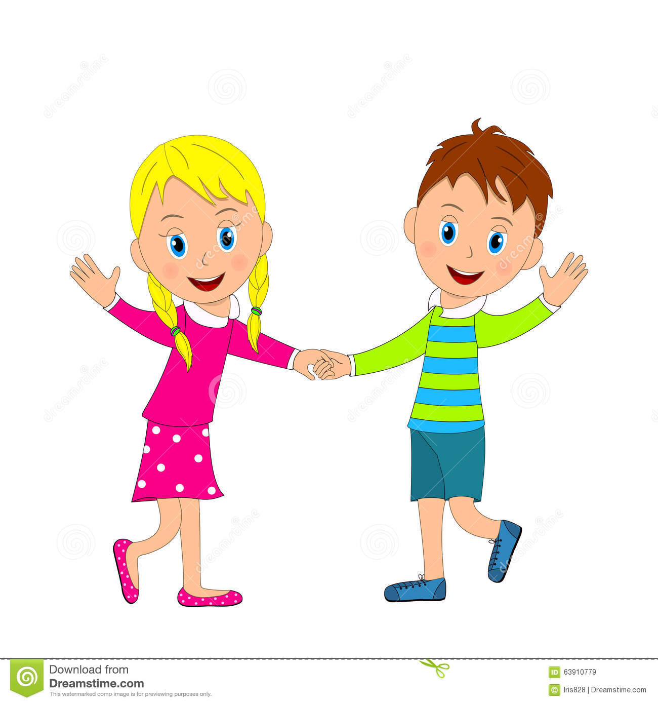 cute boy and girl smiling holding hands and waving stock vector rh dreamstime com Black and White Clip Art Boy and Girl Holding Hands Black ADN White Clip Art Boy and Girl Holding Hands