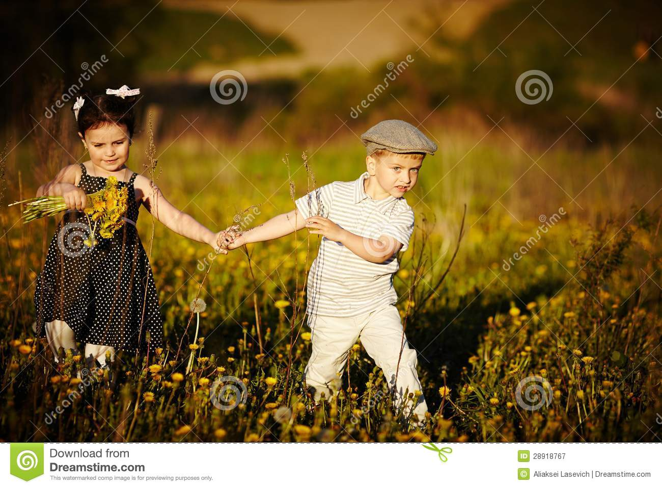 Cute Boy And Girl On Summer Field Stock Image Image Of Outdoor