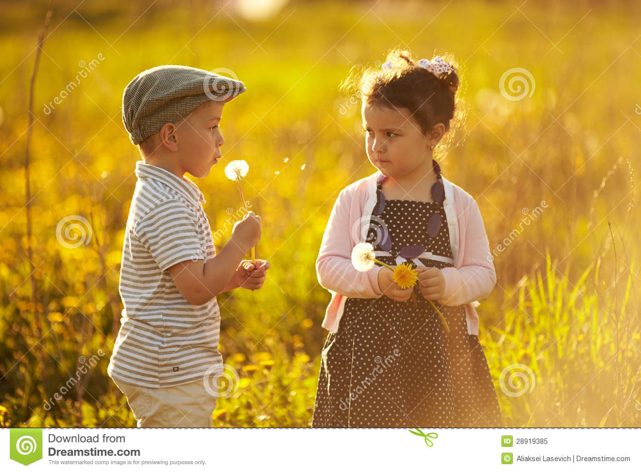 cute boy and girl on summer field stock image - image of friendship