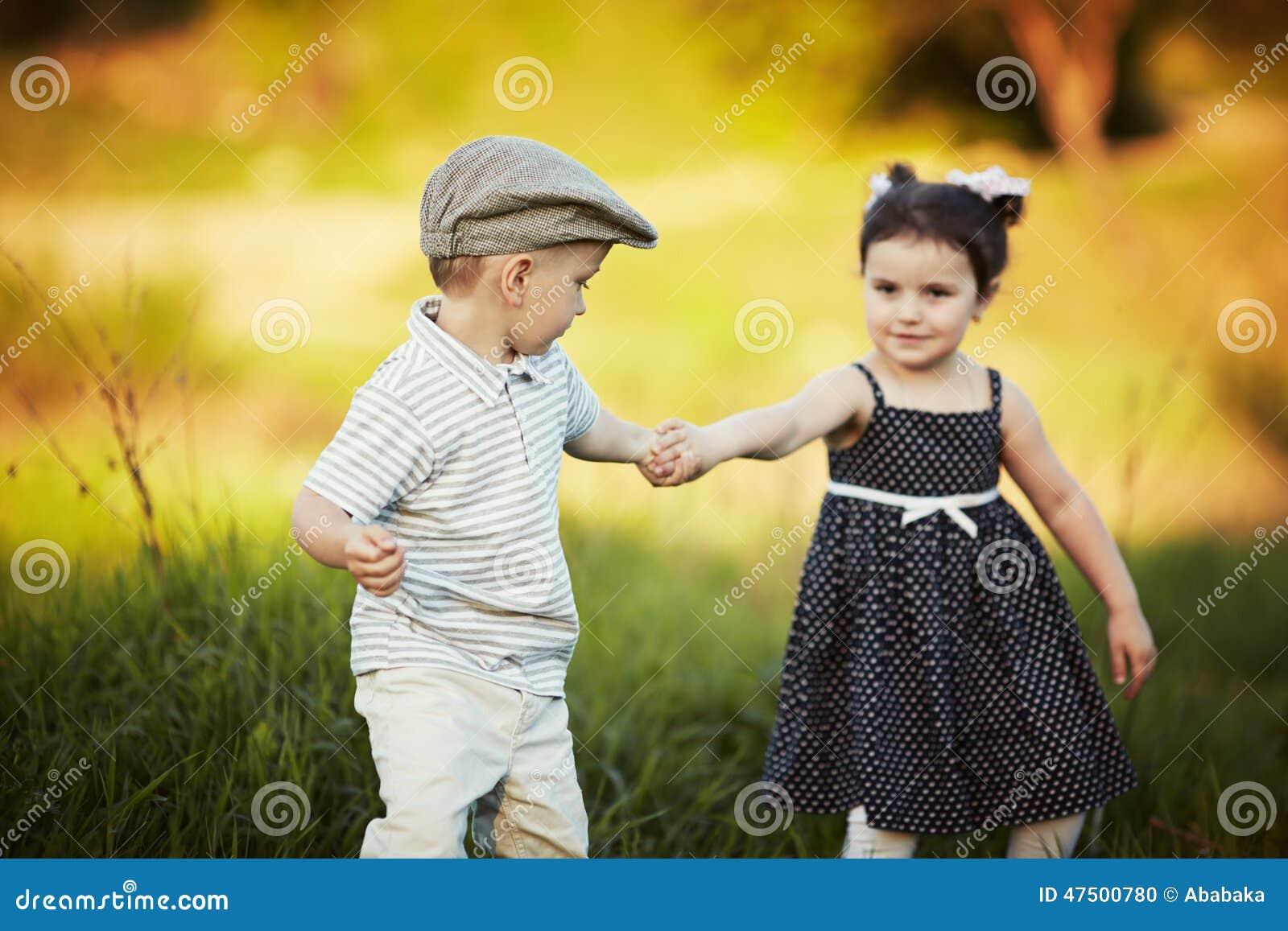 cute boy and girl on summer stock photo - image of face, garden