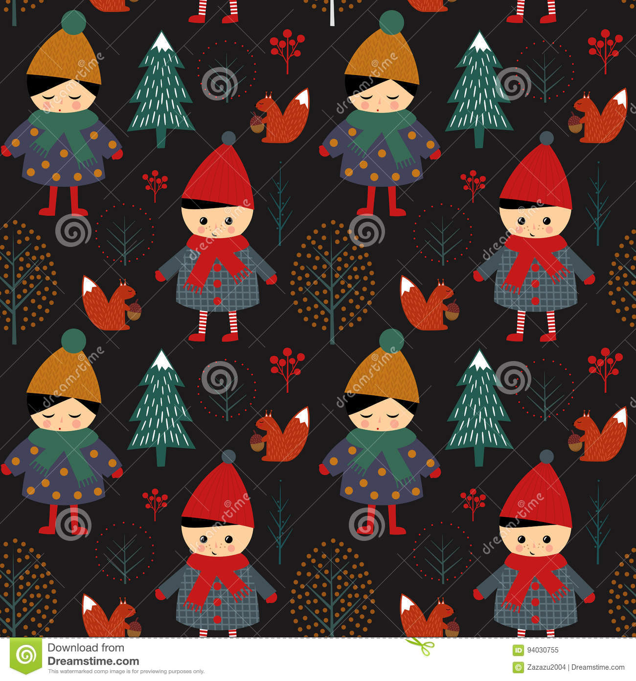 Cute boy and girl walking in winter forest seamless pattern on black background.