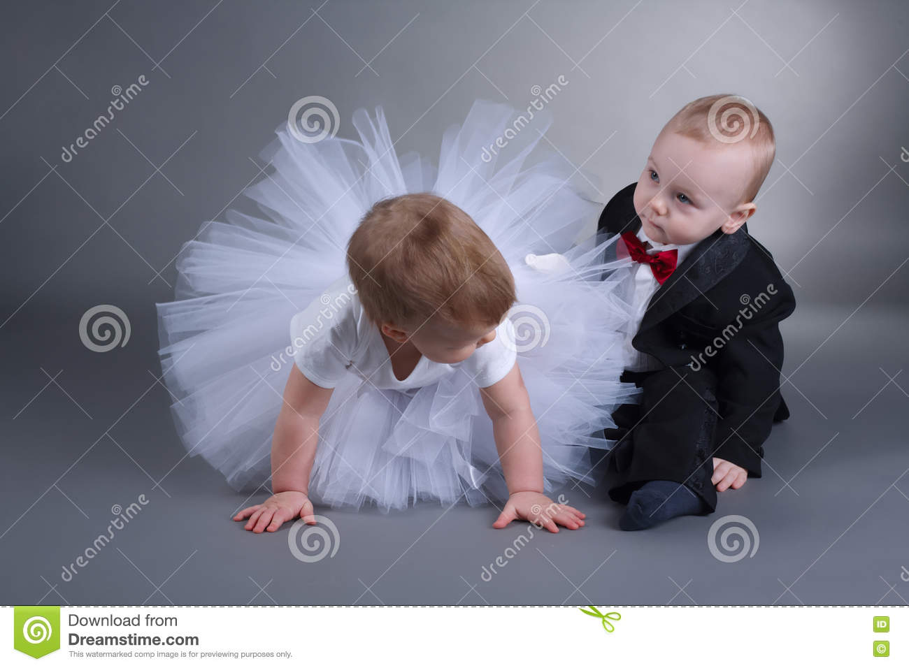 5bf051b4b78a9 Cute Boy And Girl In Wedding Dress Stock Image - Image of flowers ...