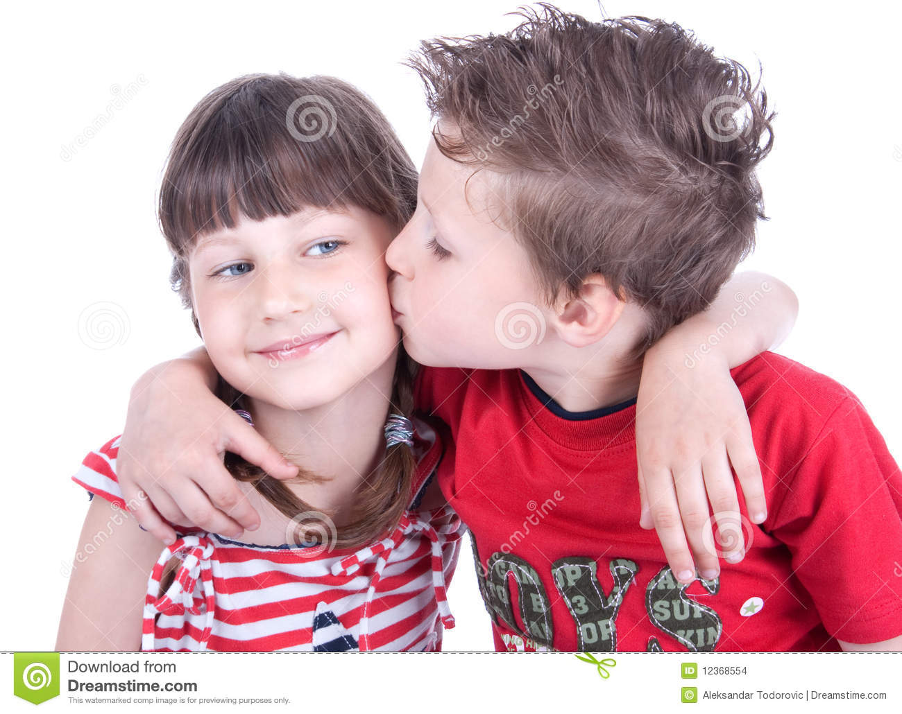 cute boy kissing a nice girl stock photo - image of growth, little