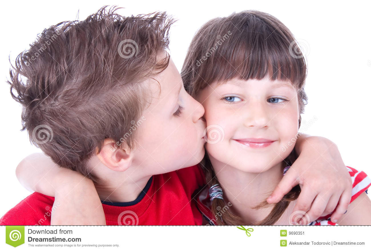 cute boy kissing a nice girl stock image - image of growth