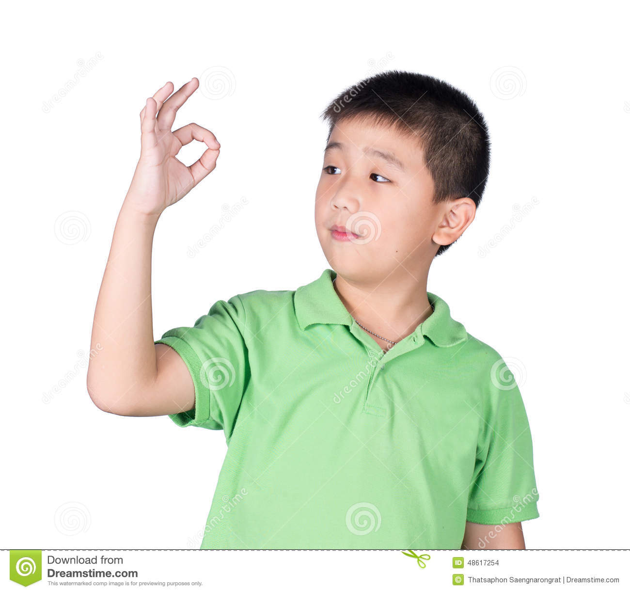a8fa47273b Cute Boy Making Ok Sign Isolated On White Background Stock Photo ...