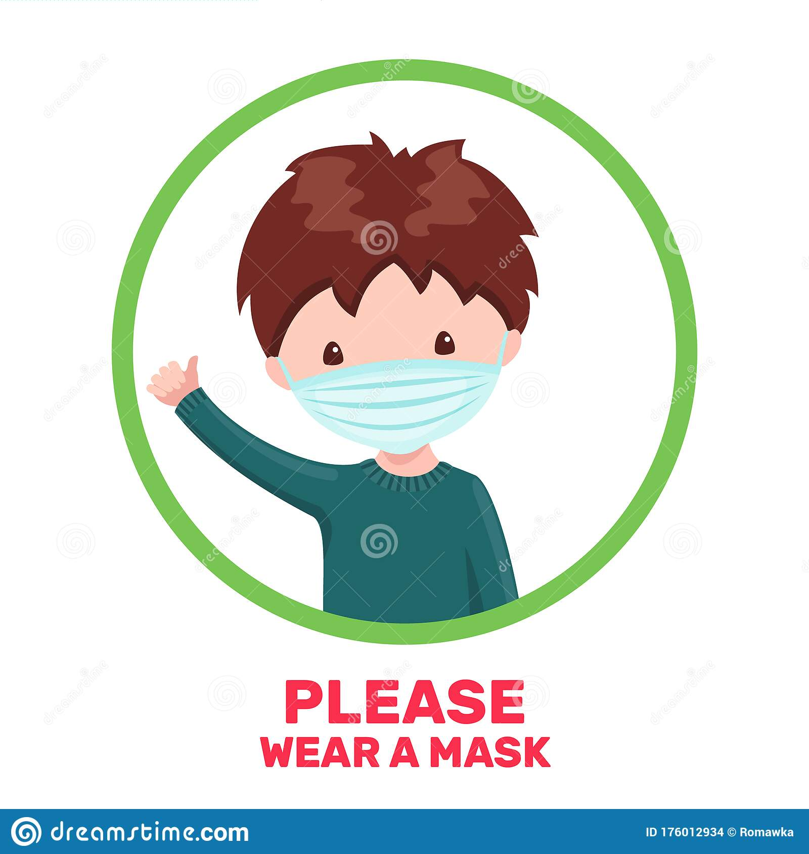 Cute Boy With Medical Mask In Cartoon Style Isolated On White Background  Stock Vector - Illustration of background, male: 176012934