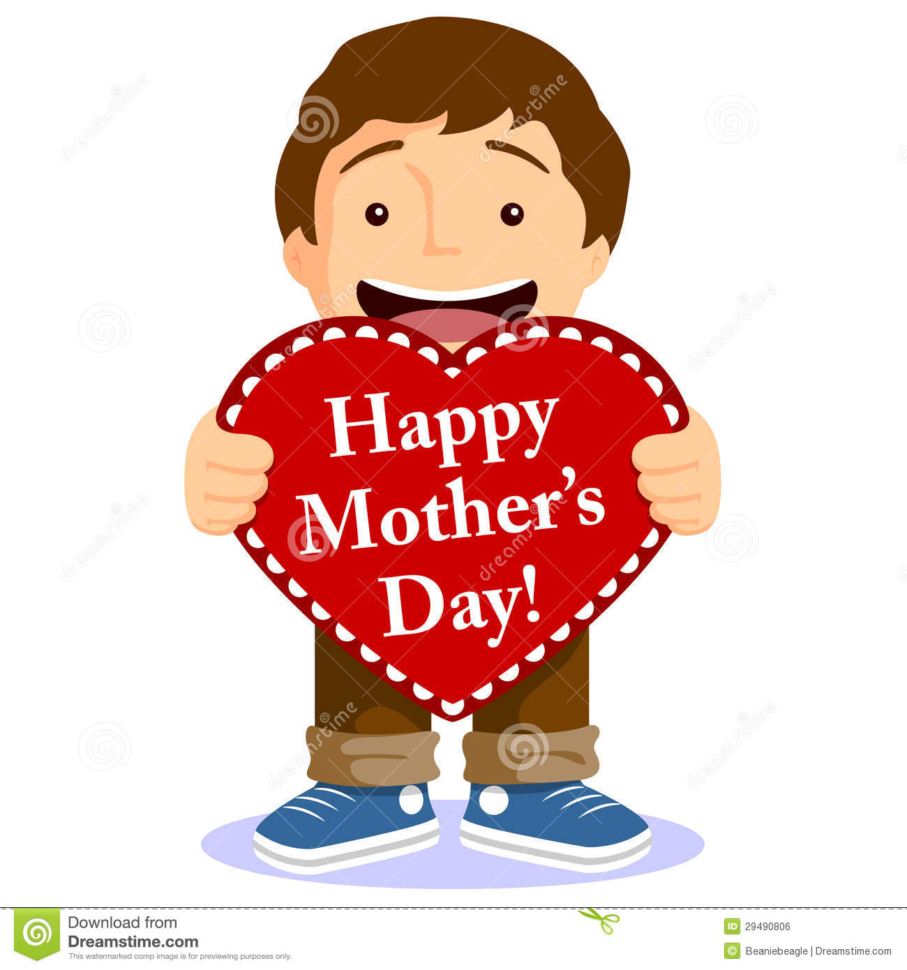Cute Boy With Mothers Day Card Stock Vector - Image: 29490806