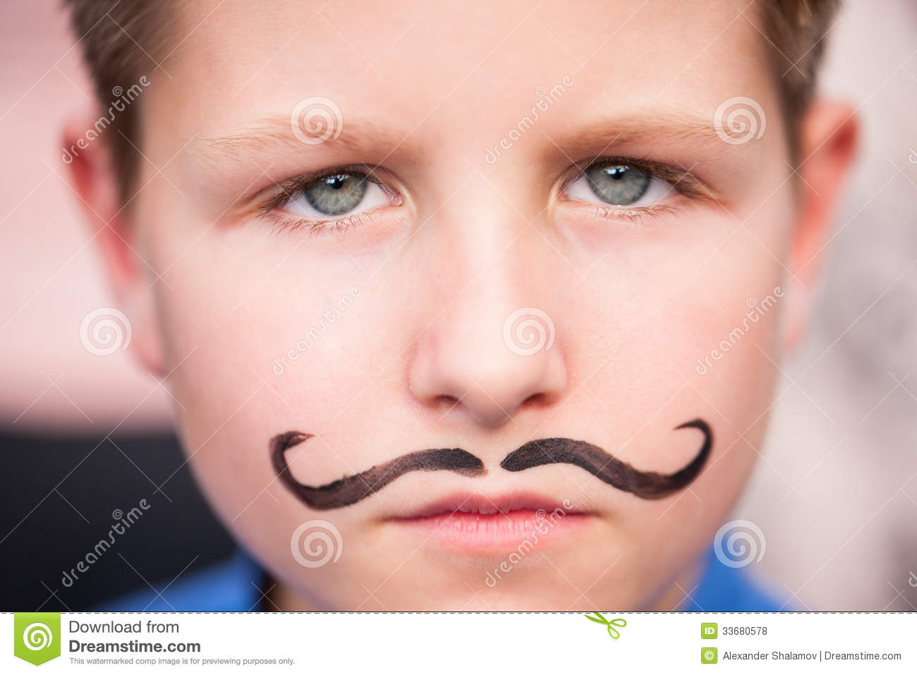 Cute Boy With Painted Mustache Royalty Free Stock Photos