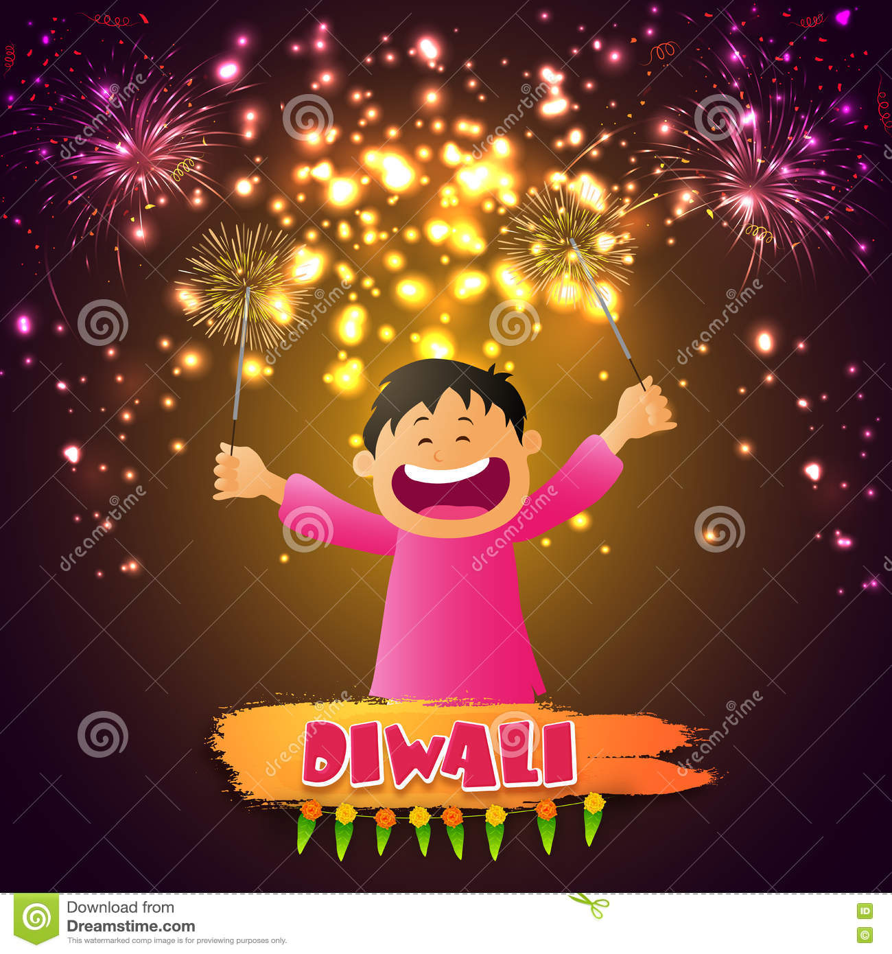 Cute Boy Playing With Firecrackers For Diwali Stock