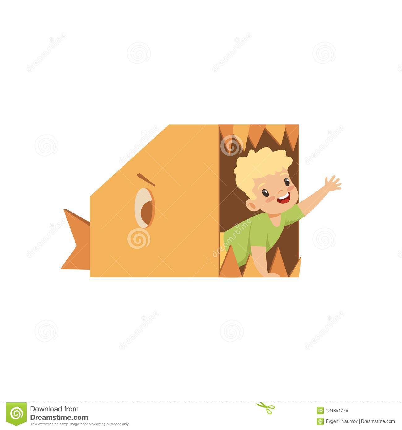 Cute boy playing inside a toothy fish made of cardboard boxes vector Illustration on a white background