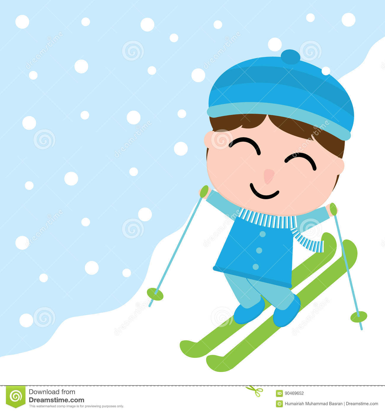 Cute Boy Is Playing Ski On Snow Carton For Xmas Postcard Wallpaper