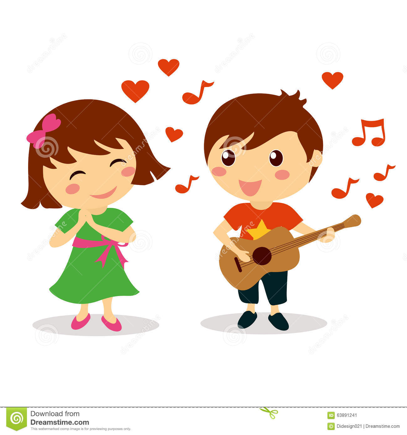 Cute Boy Singing A Love Song To Beautiful Smiling Girl Stock