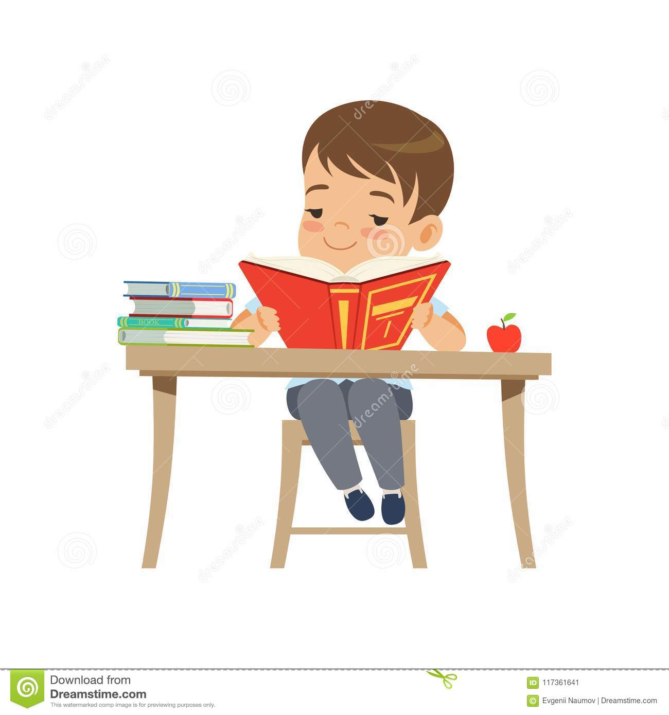 Amazing Cute Boy Sitting At The Desk And Reading A Book Elementary Interior Design Ideas Inesswwsoteloinfo