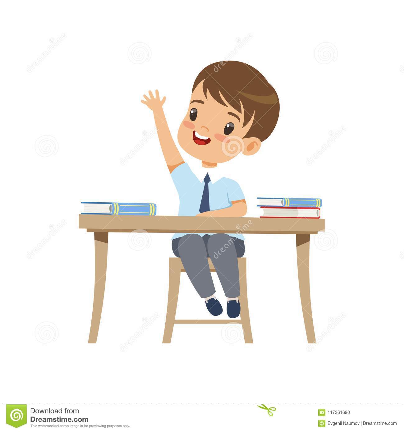 Cute boy sitting at the desk and rising his hand, elementary school student in uniform vector Illustration on a white