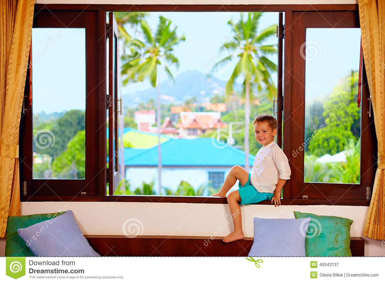 Sit In Window young boy sit on the window sill stock photo - image: 42892691