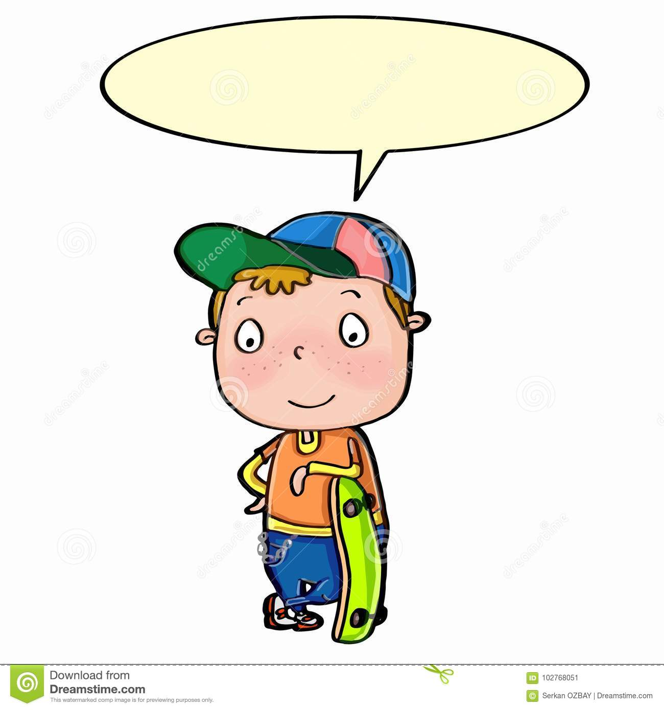 cute boy standing and skateboard and speaking stock illustration