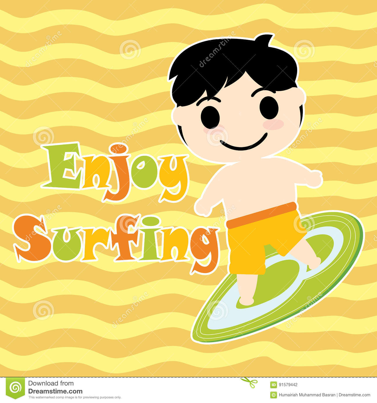 Cute Boy With Surfing Board Cartoon Summer Postcard Wallpaper And
