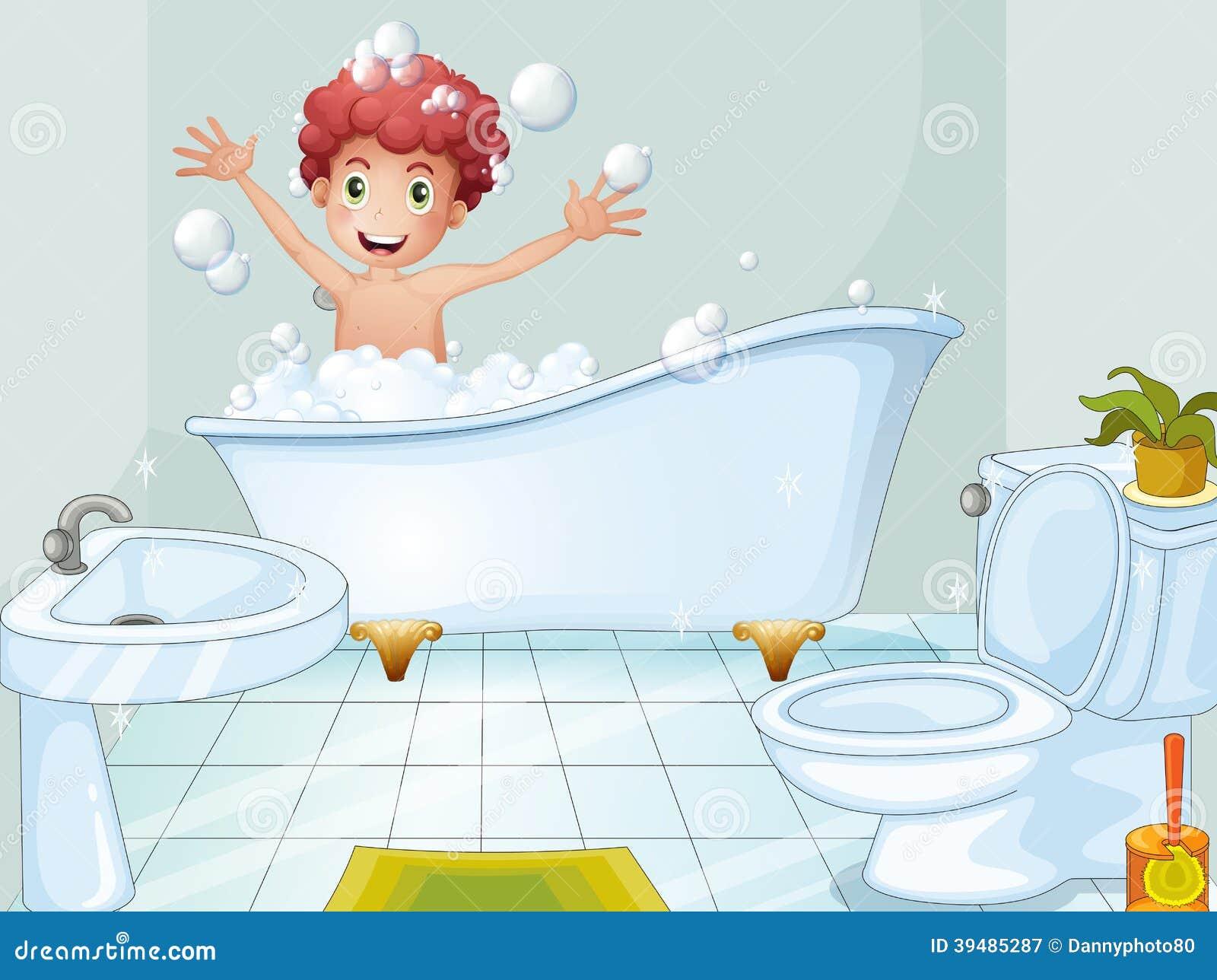 Cute Cartoon Boy Bathroom Stock Illustration 215566618