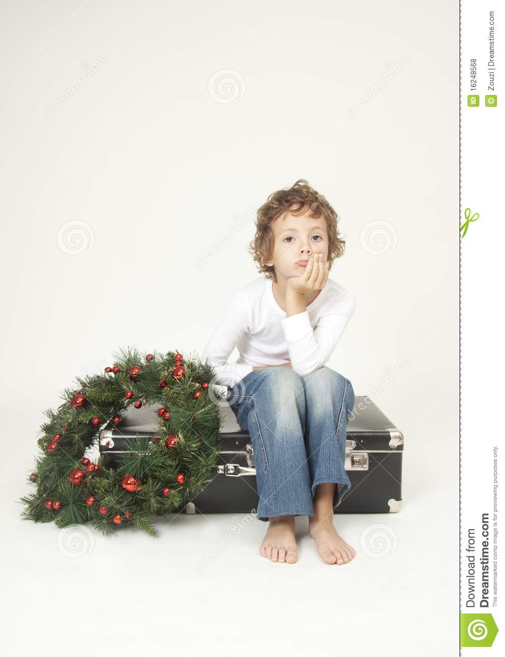 Cute Boy Waiting For Christmas Royalty Free Stock Photos