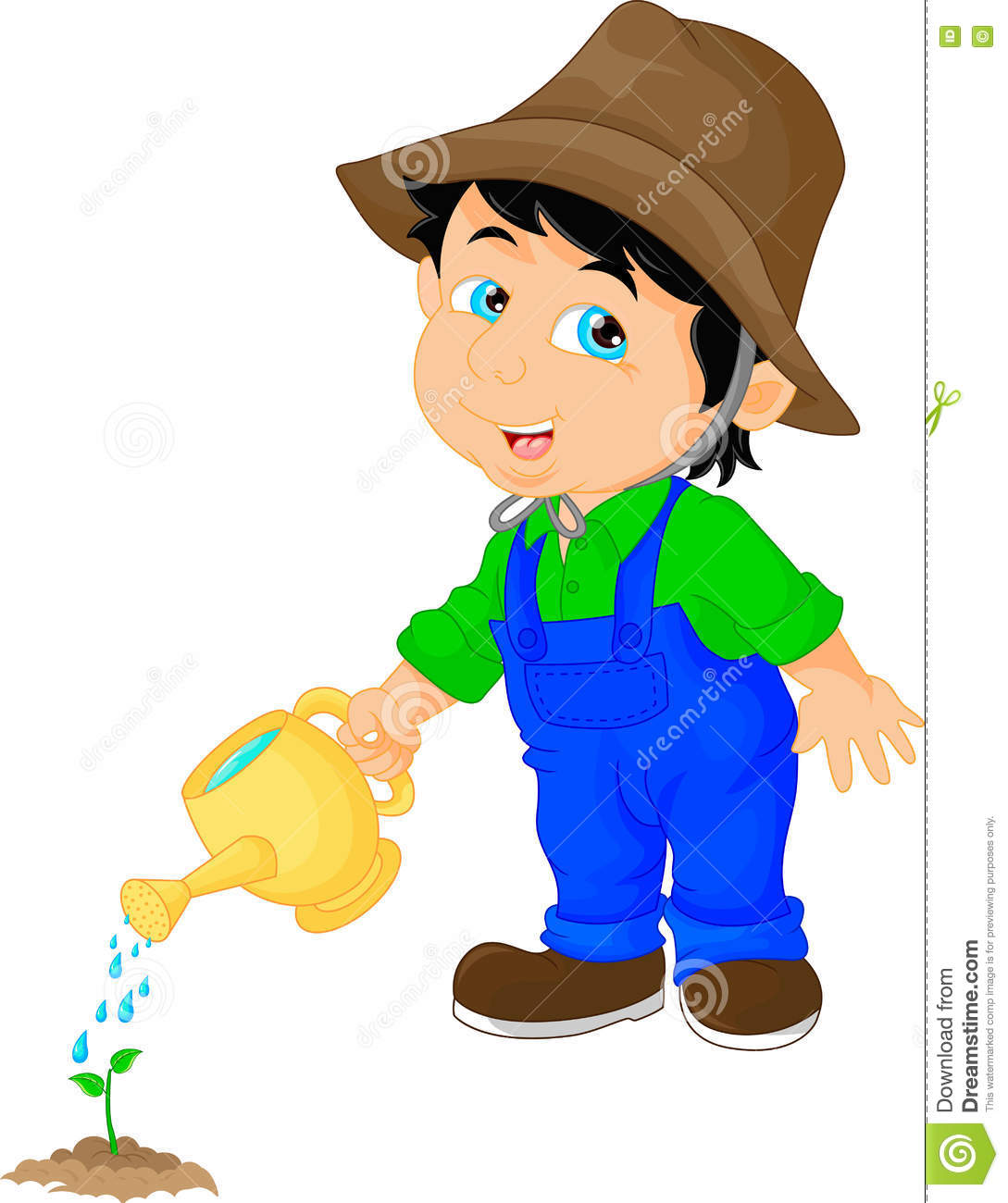 Cute boy watering a plant stock vector. Illustration of ...