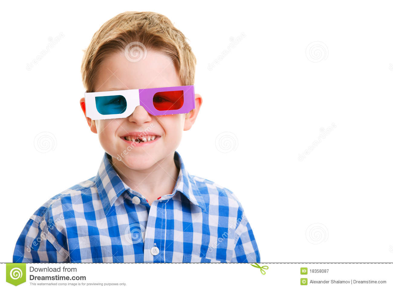Cute Boy Wearing 3D Glasses Royalty Free Stock Photography ...