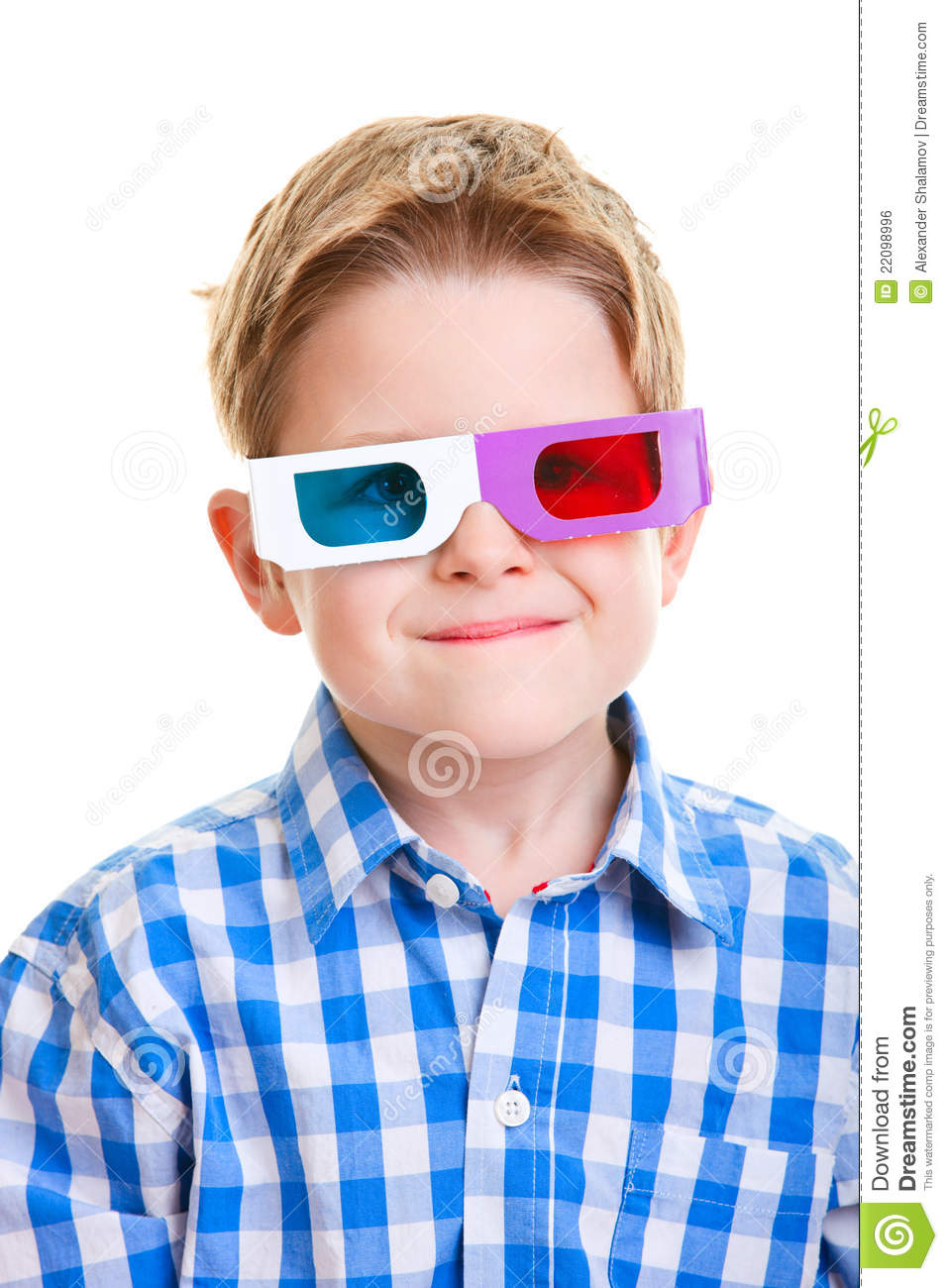 Cute Boy Wearing 3D Glasses Royalty Free Stock Image ...