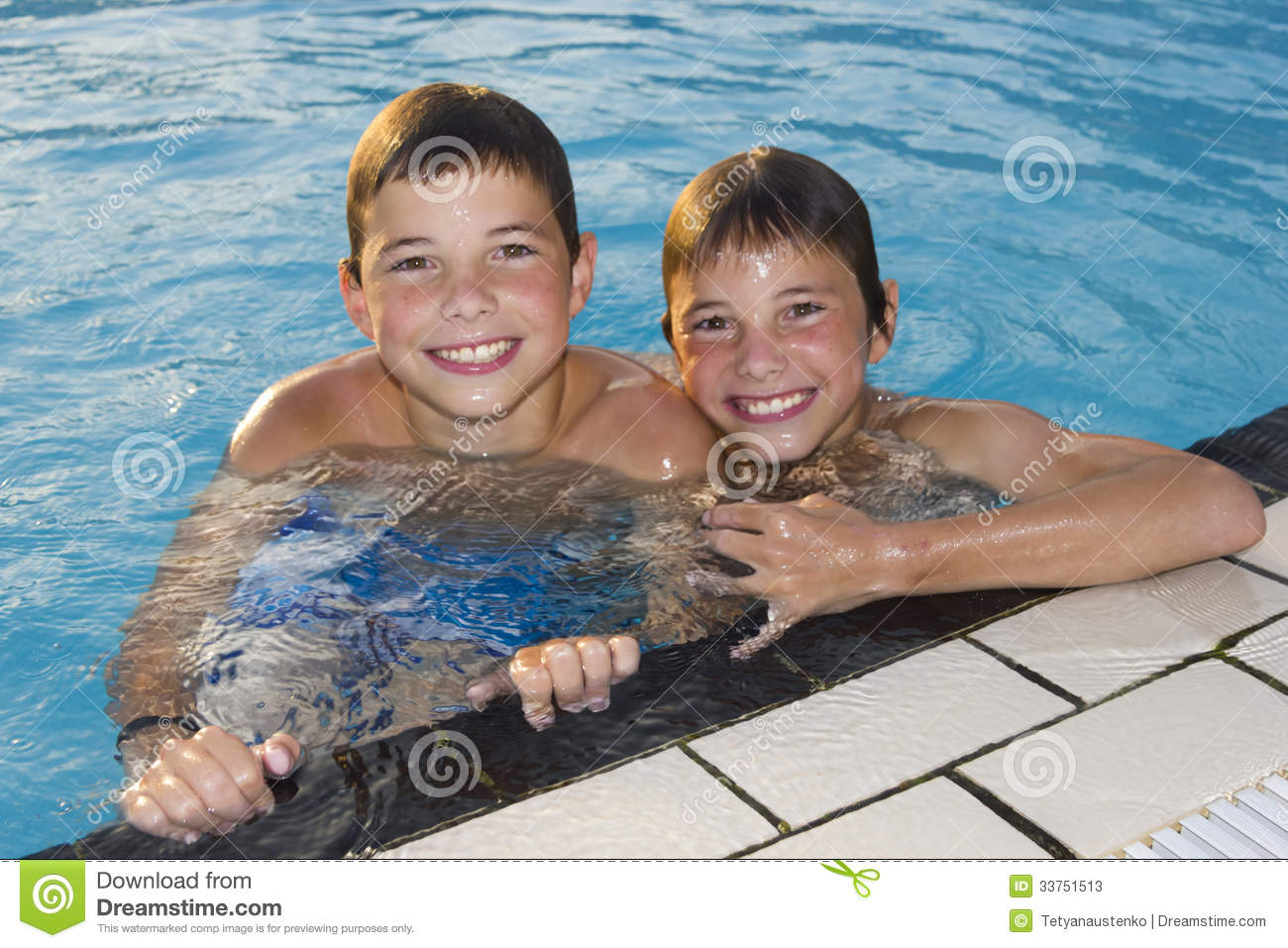 Cute boys swimming and playing in water stock image for Cute pool pictures