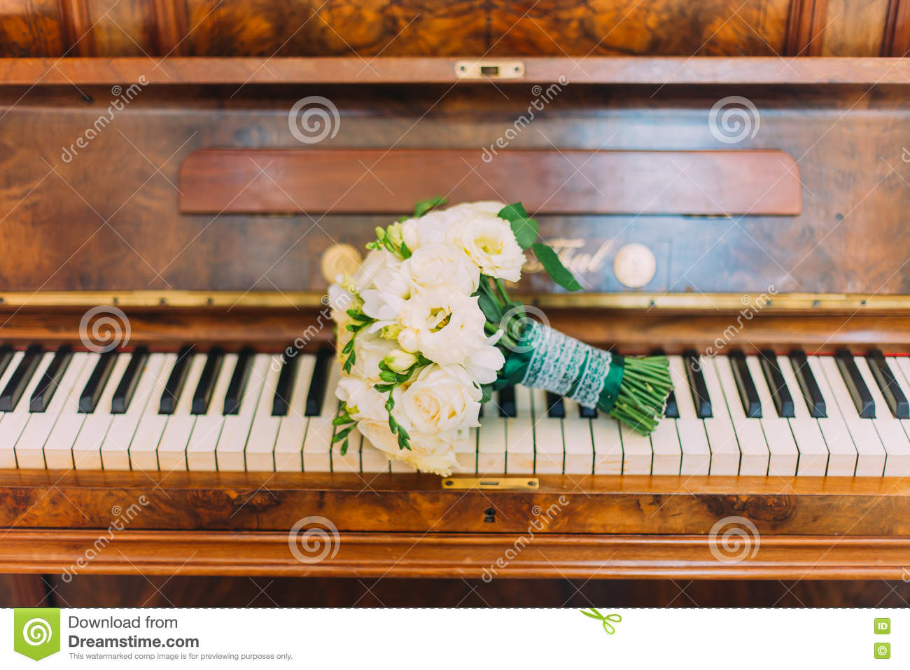 Cute Bridal Bouquet Of White Roses On Piano Keyboard Stock ...