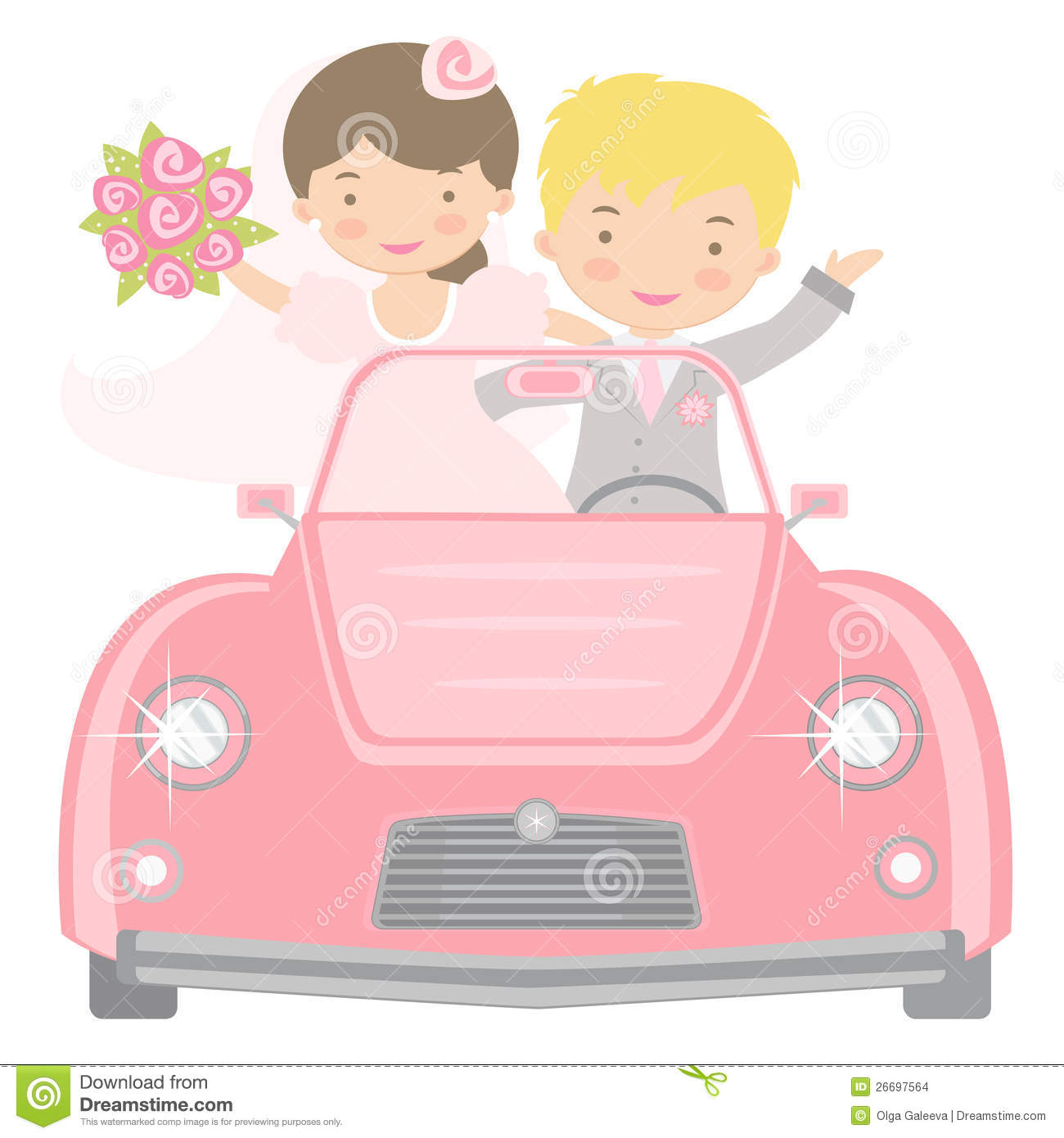 Cute Bride And Groom Driving To Honeymoon