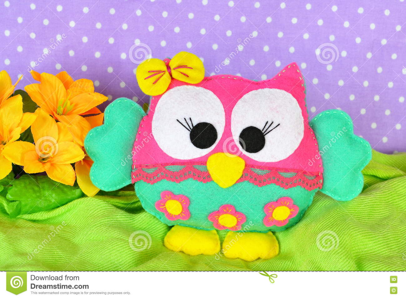 Cute Bright Owl Toy Children Felt Crafts Stock Image Image Of