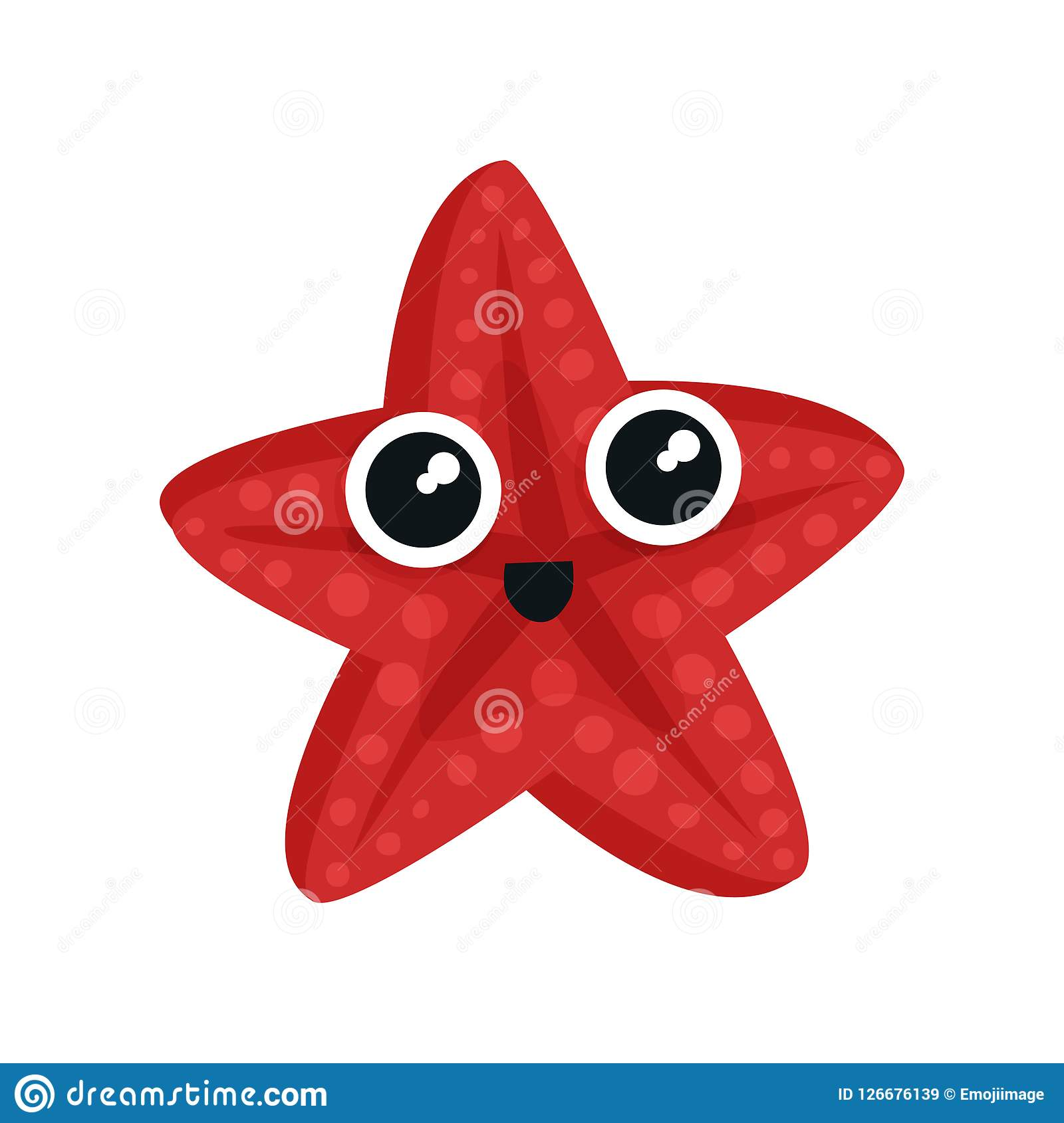 Cute red sea star with big shiny eyes. Adorable marine creature. Small aquatic animal. Flat vector for kids t-shirt