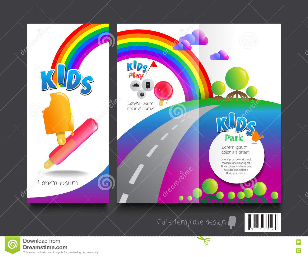 cute brochure template design kids concept invitation layout