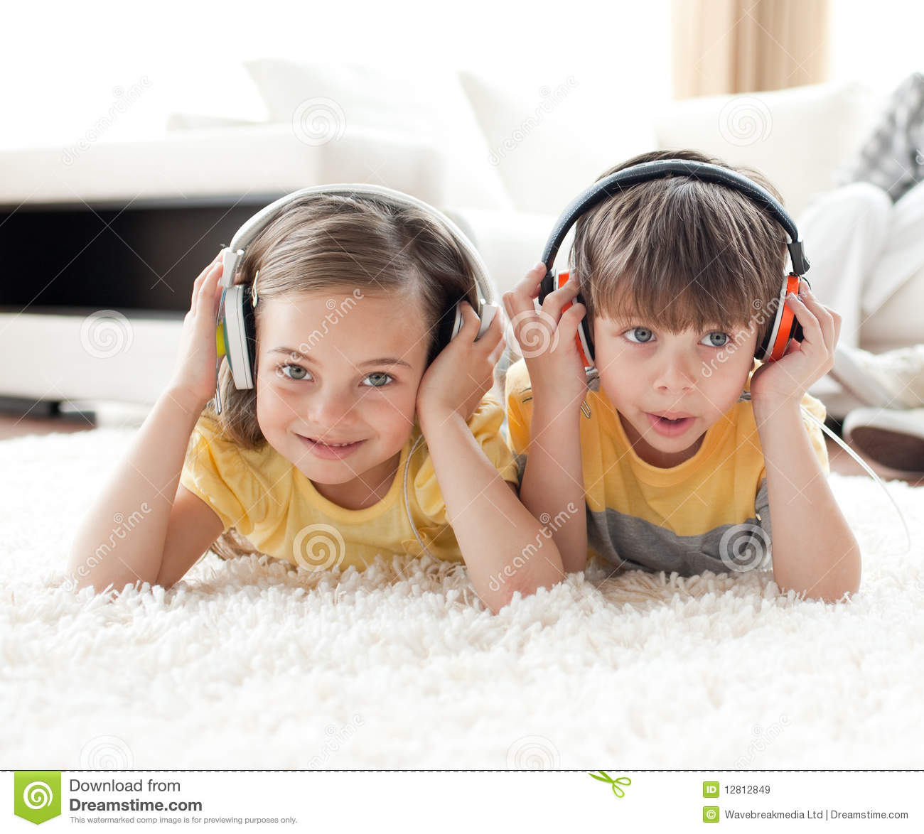 Picture For Brother Sister: Cute Brother And Sister Listening Music Stock Image