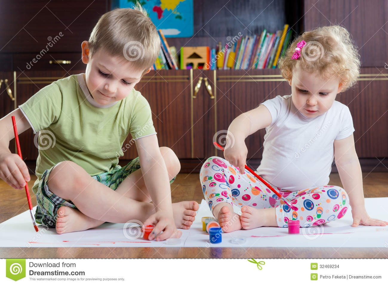 Cute Brother And Sister Painting Stock Photo Image Of Funny