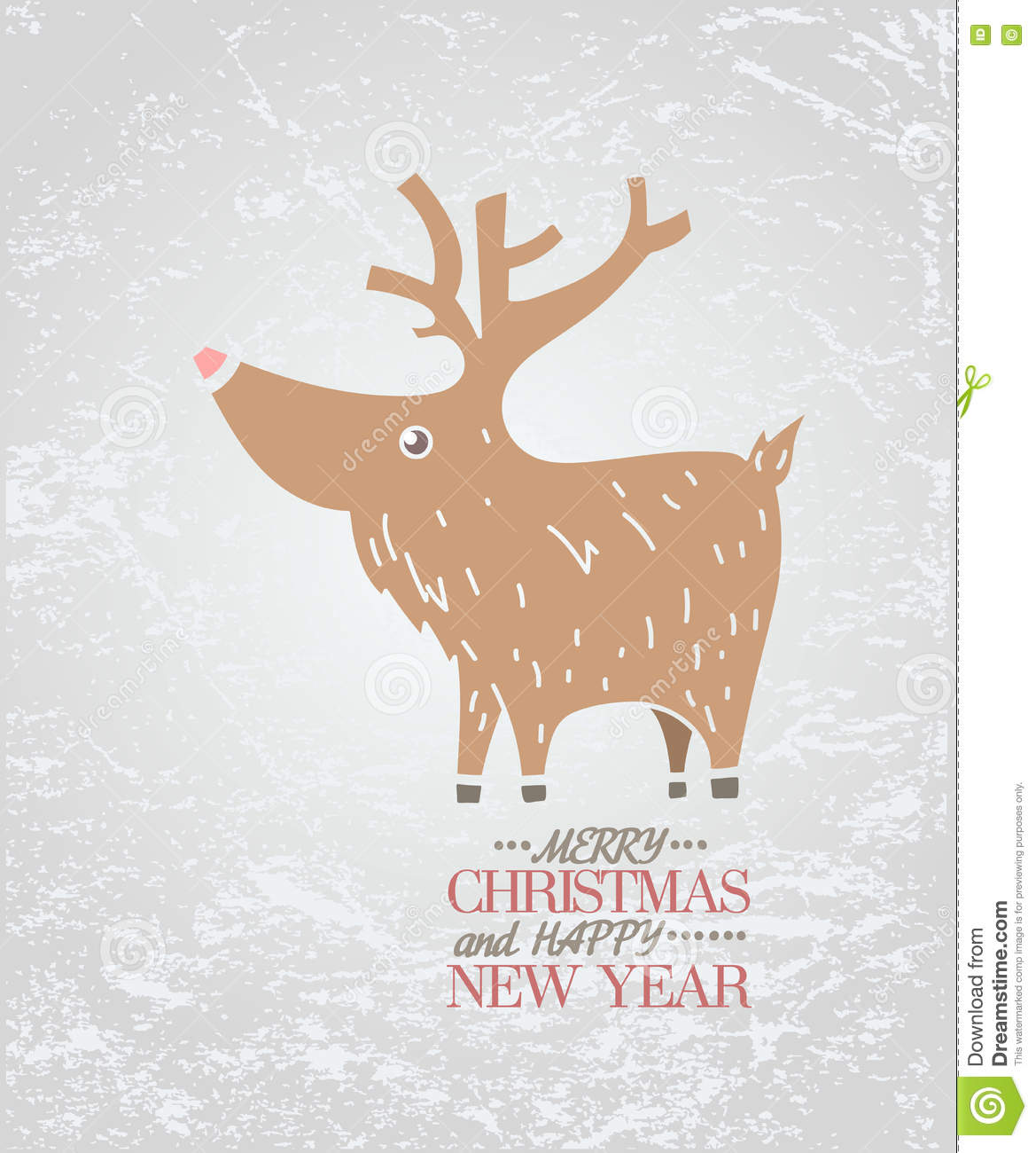 cute brown deer on ice new year christmas holiday greeting card