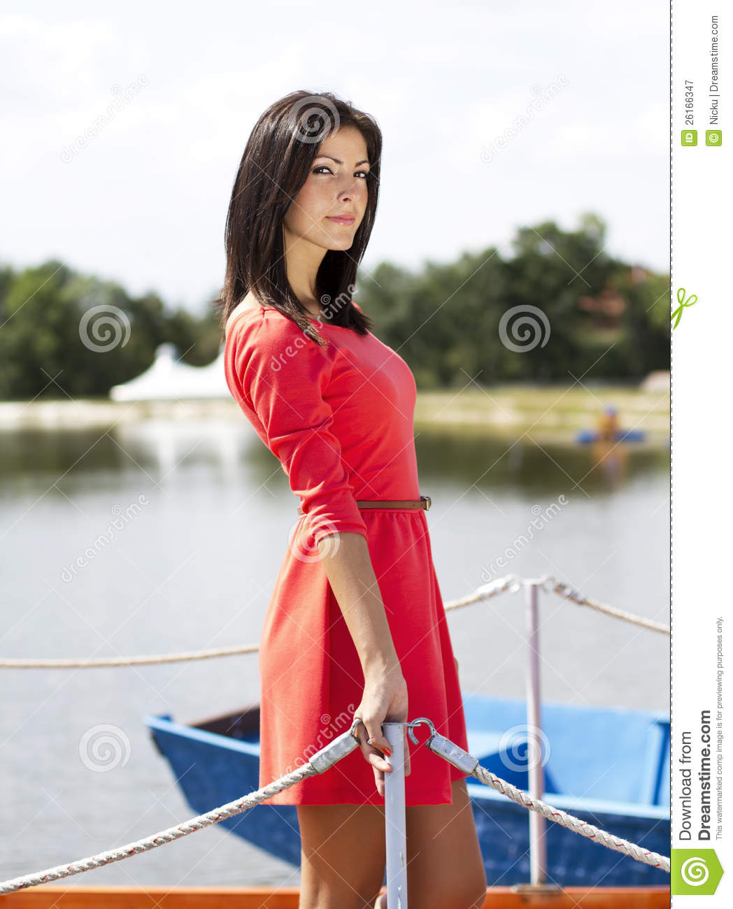 Cute Brunette Girl On A Lake Pontoon Royalty Free Stock ...