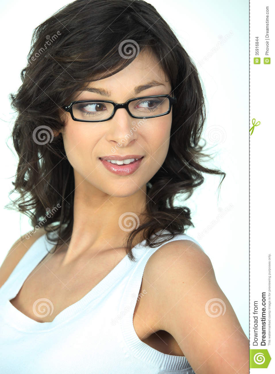 Cute brunette with glasses gets her