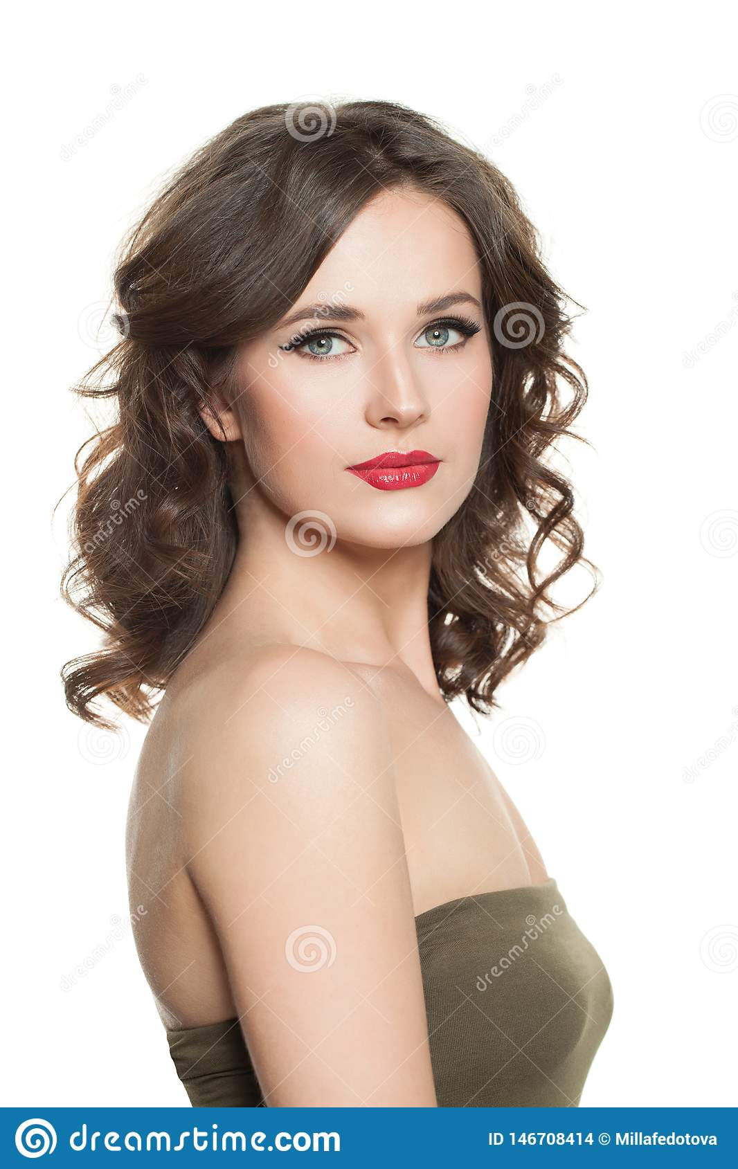 Cute Brunette Woman With Perfect Curly Hair And Makeup Isolated On