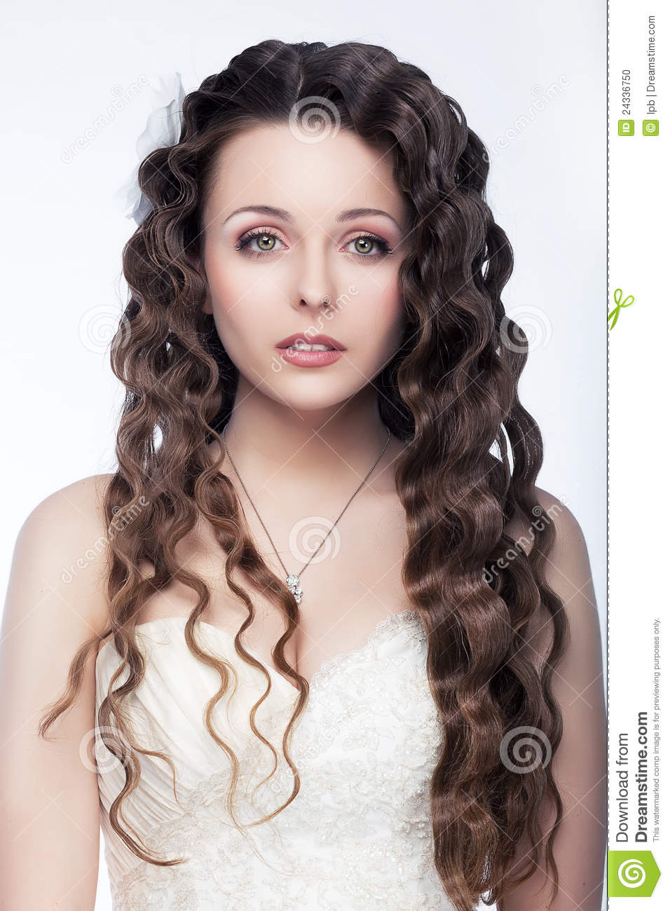 Cute Brunette Young Girl With Curly Hair Stock Photo