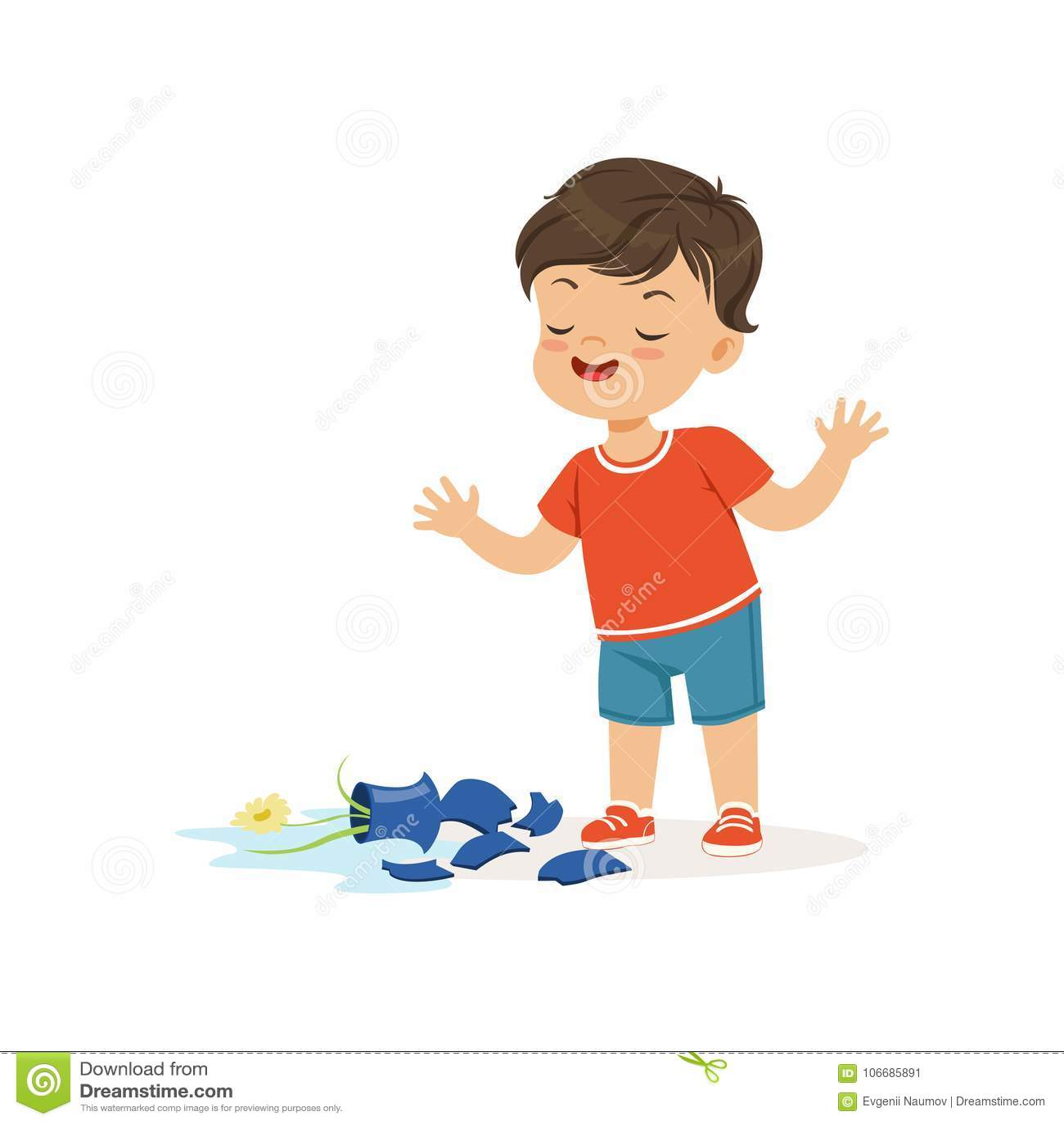 Cute bully boy broke the vase, hoodlum cheerful little kid, bad child behavior vector Illustration