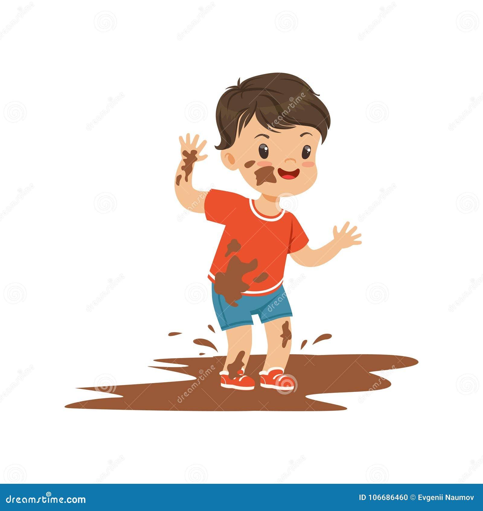 Cute bully boy jumping in a dirt, hoodlum cheerful little kid, bad child behavior vector Illustration