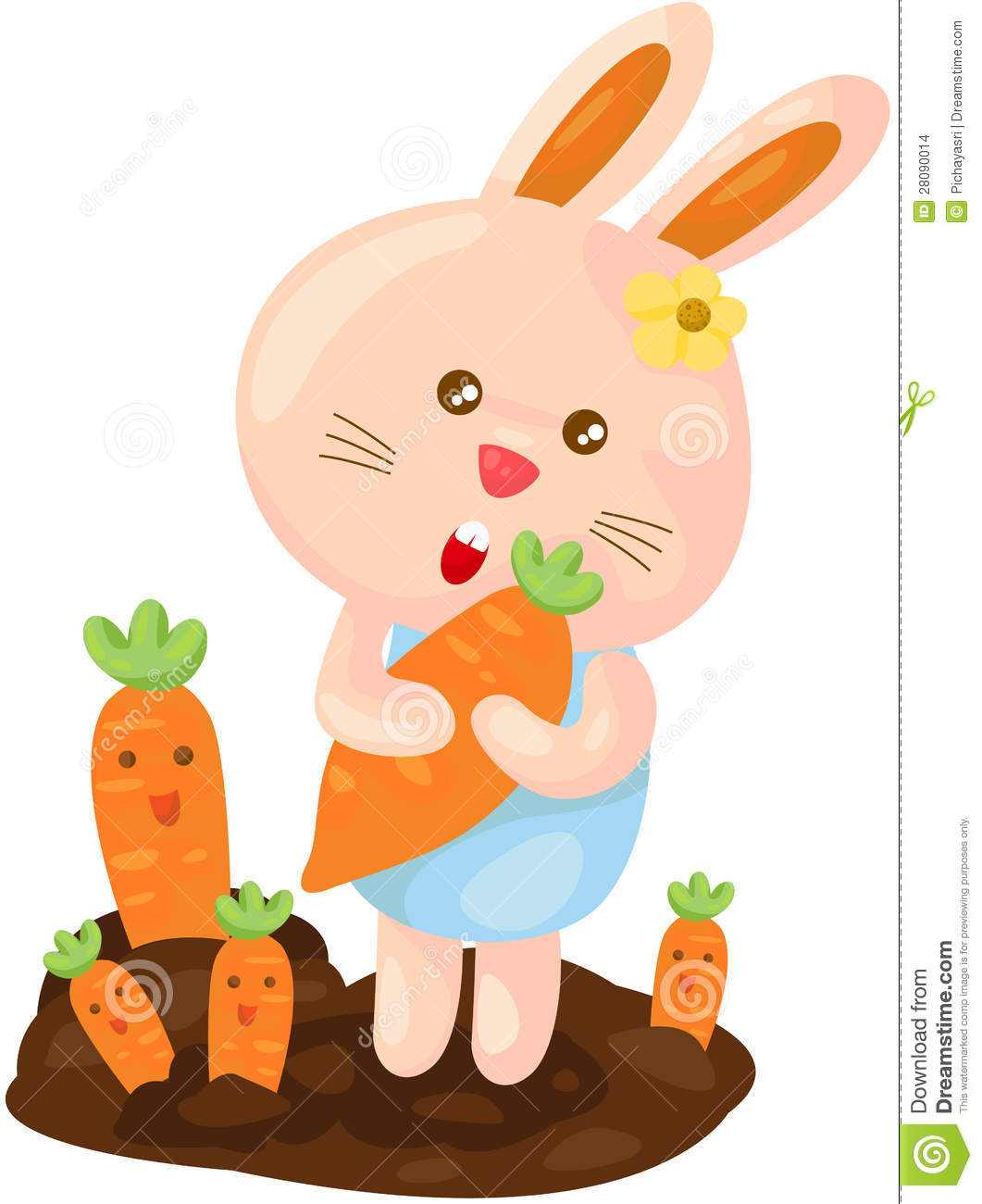 Cute bunny with carrot stock vector. Illustration of ...