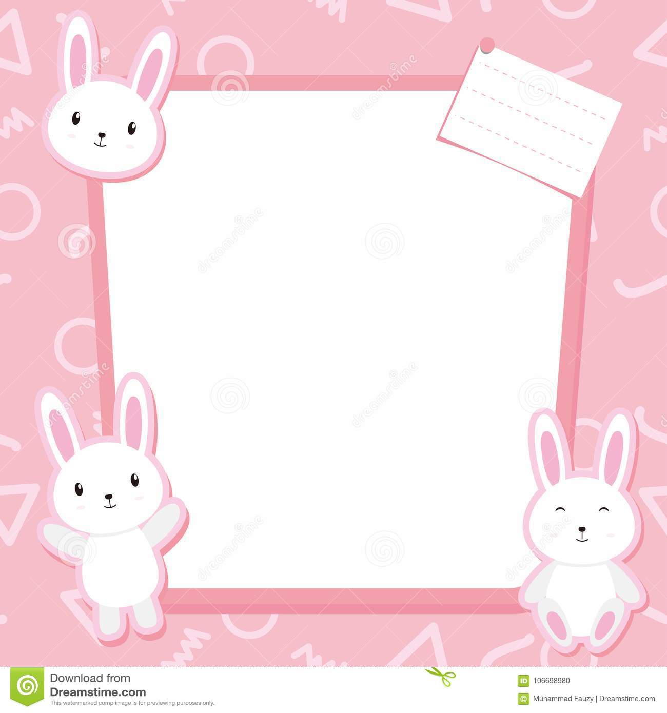 Cute Bunny Frame Vector With Pink Color Stock Vector