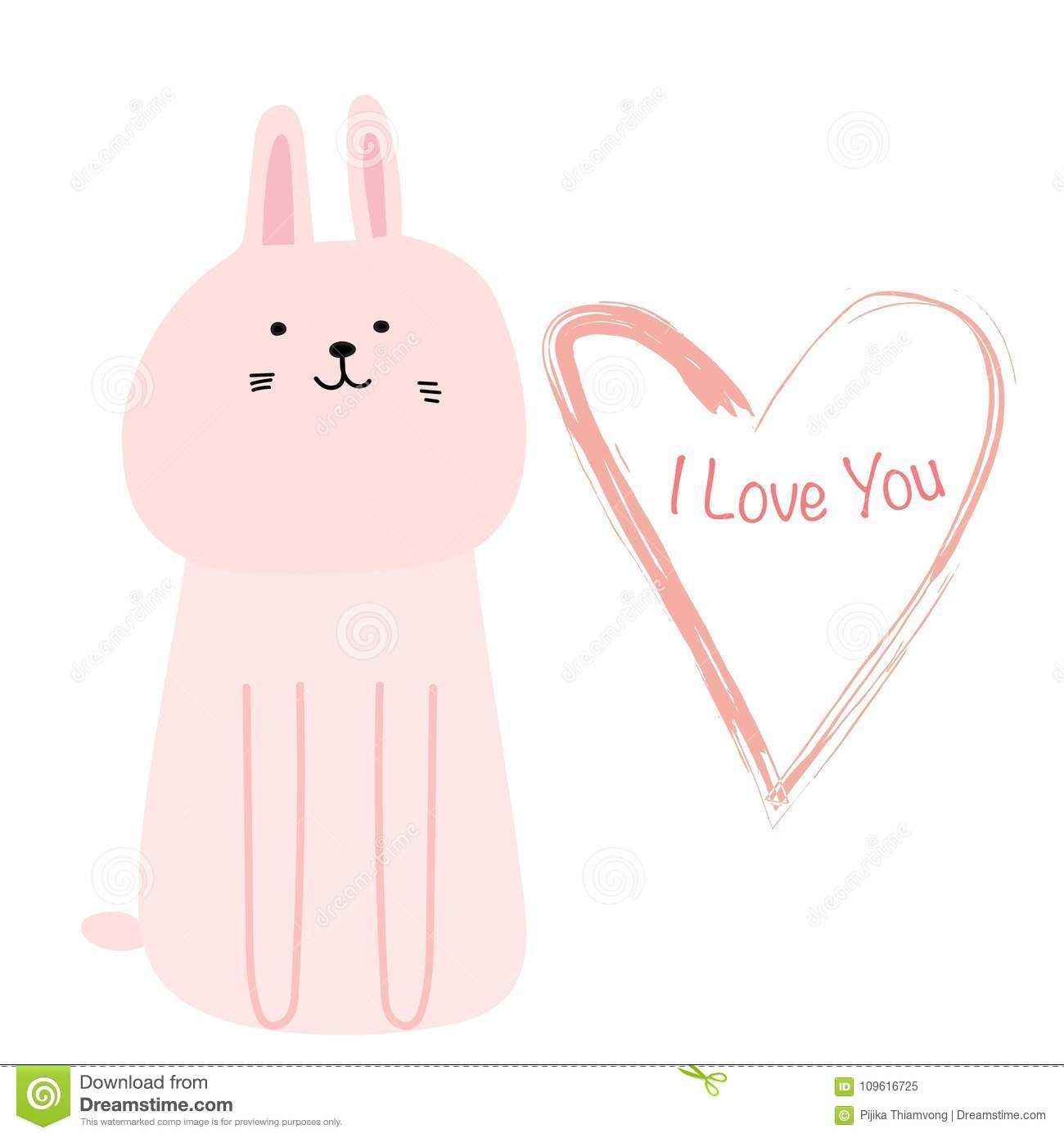 Cute Bunny With I Love You Typography Card Hand Draw Cute Card