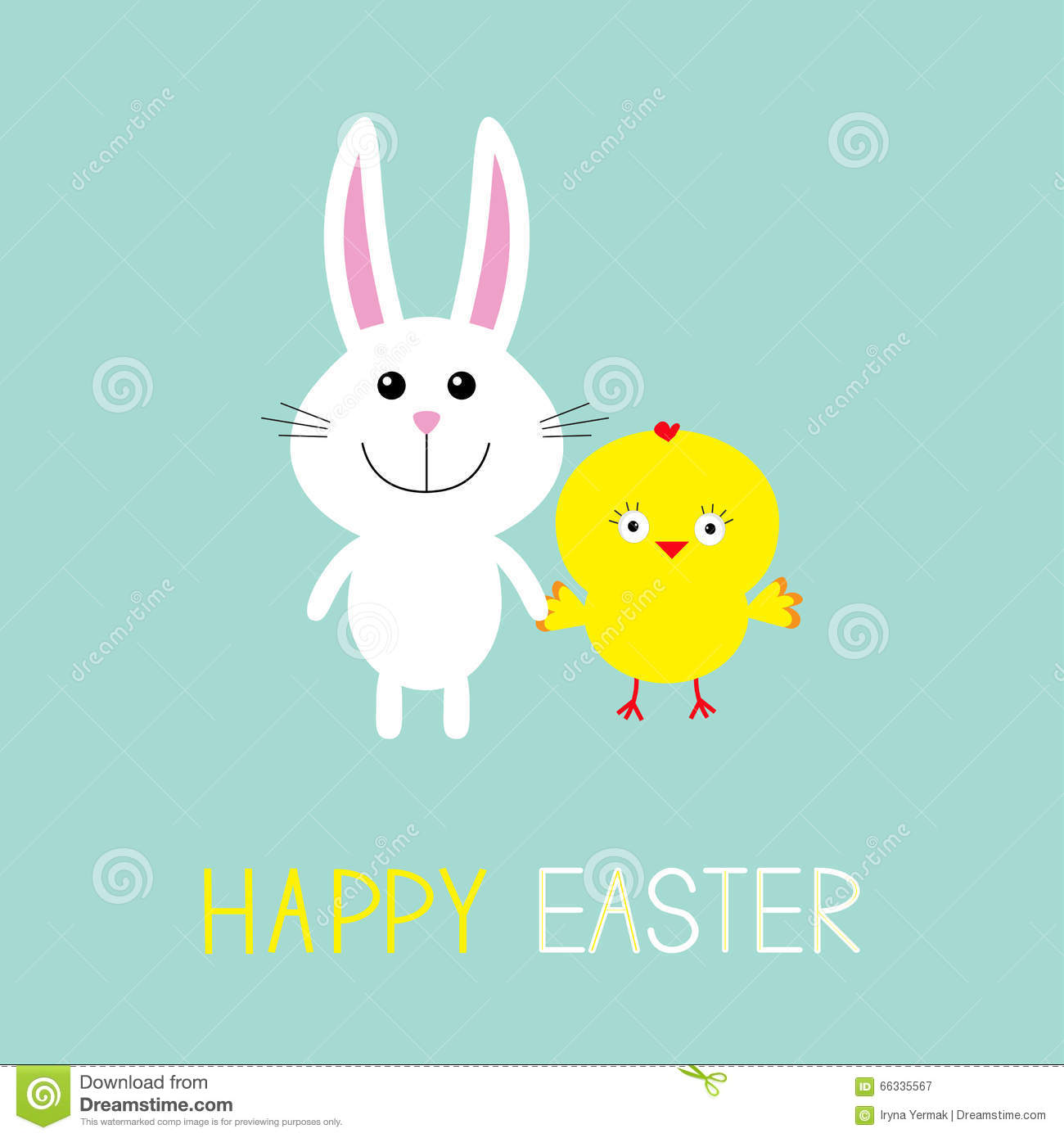 Cute Bunny Rabbit And Chicken. Happy Easter. Round Frame ...