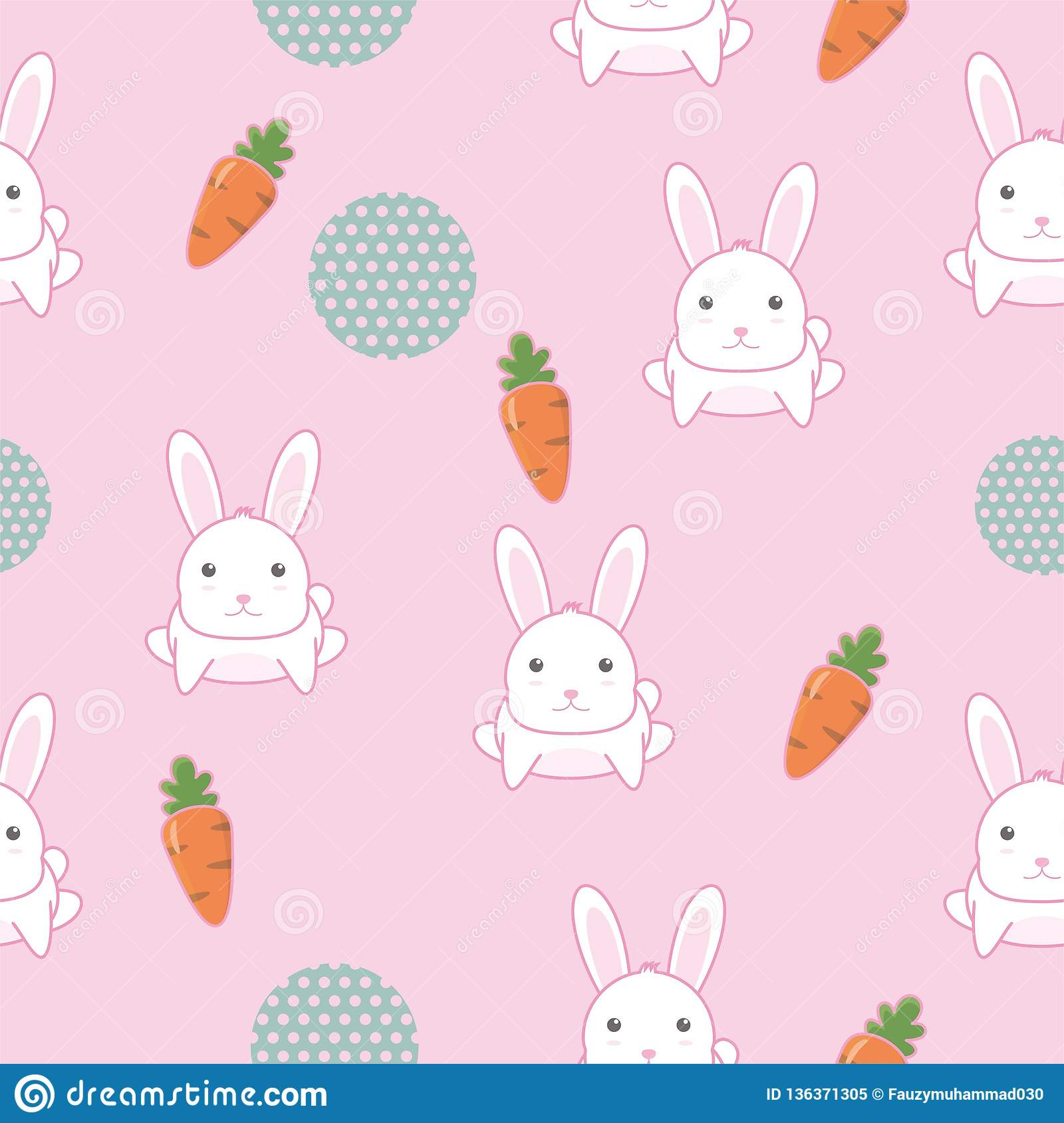 Cute Bunny Seamless Pattern With Pink Color Stock Vector
