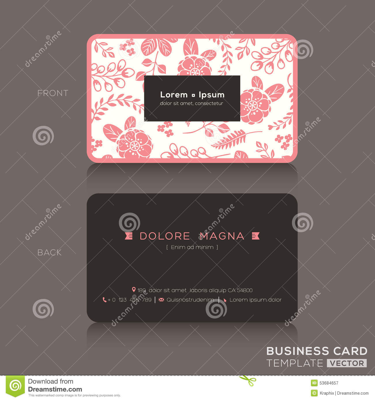 Cute Floral Pattern Business Card Name Card Design Stock Vector - Cute business cards templates free