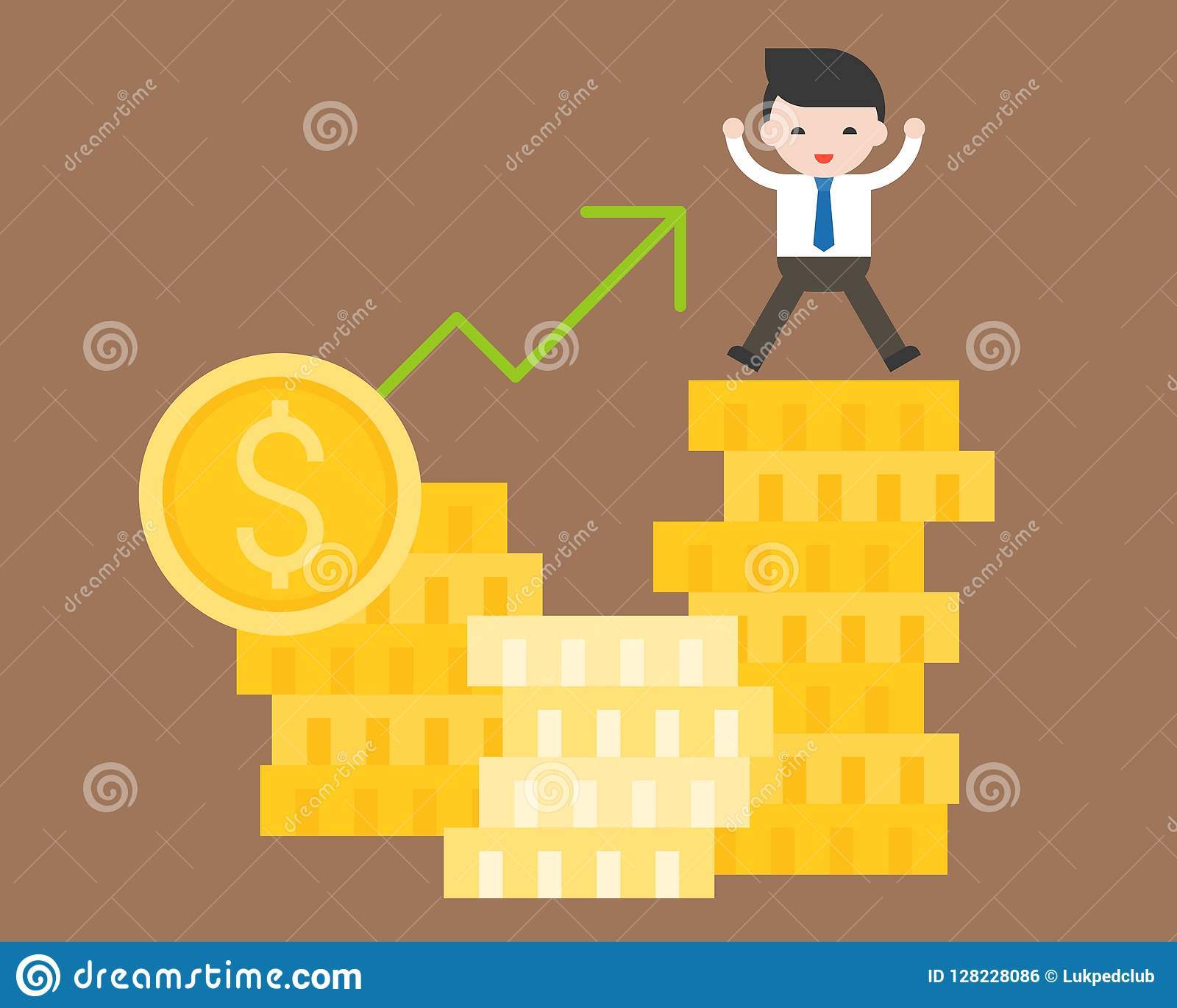 cute business man stand on stack of gold coin, business situation concept, riches from investment dollar currency price rising