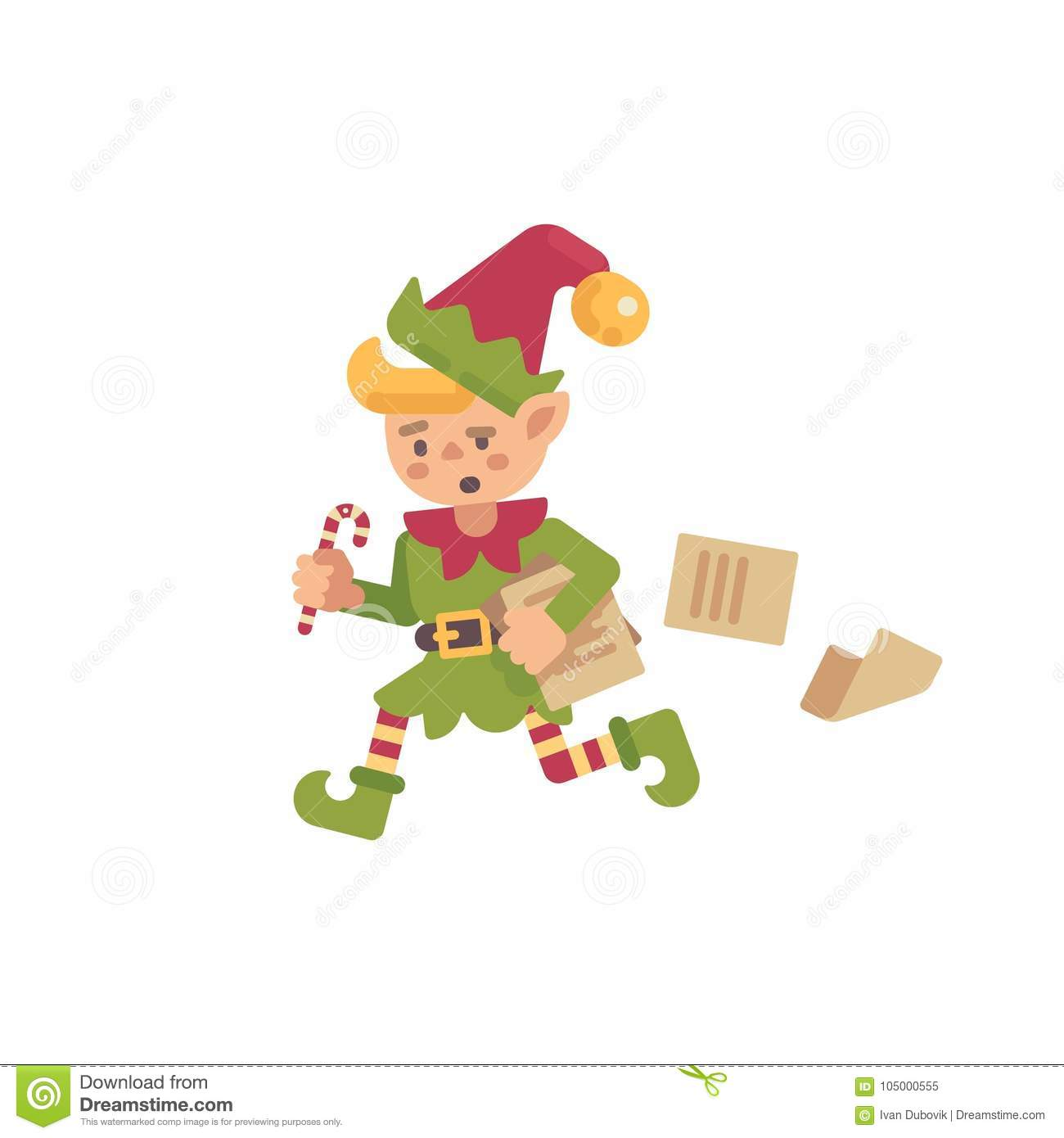 Cute Busy Christmas Elf Running With Papers And Letters Stock Vector